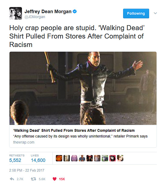 The Walking Dead Jeffrey Dean Morgan tweet